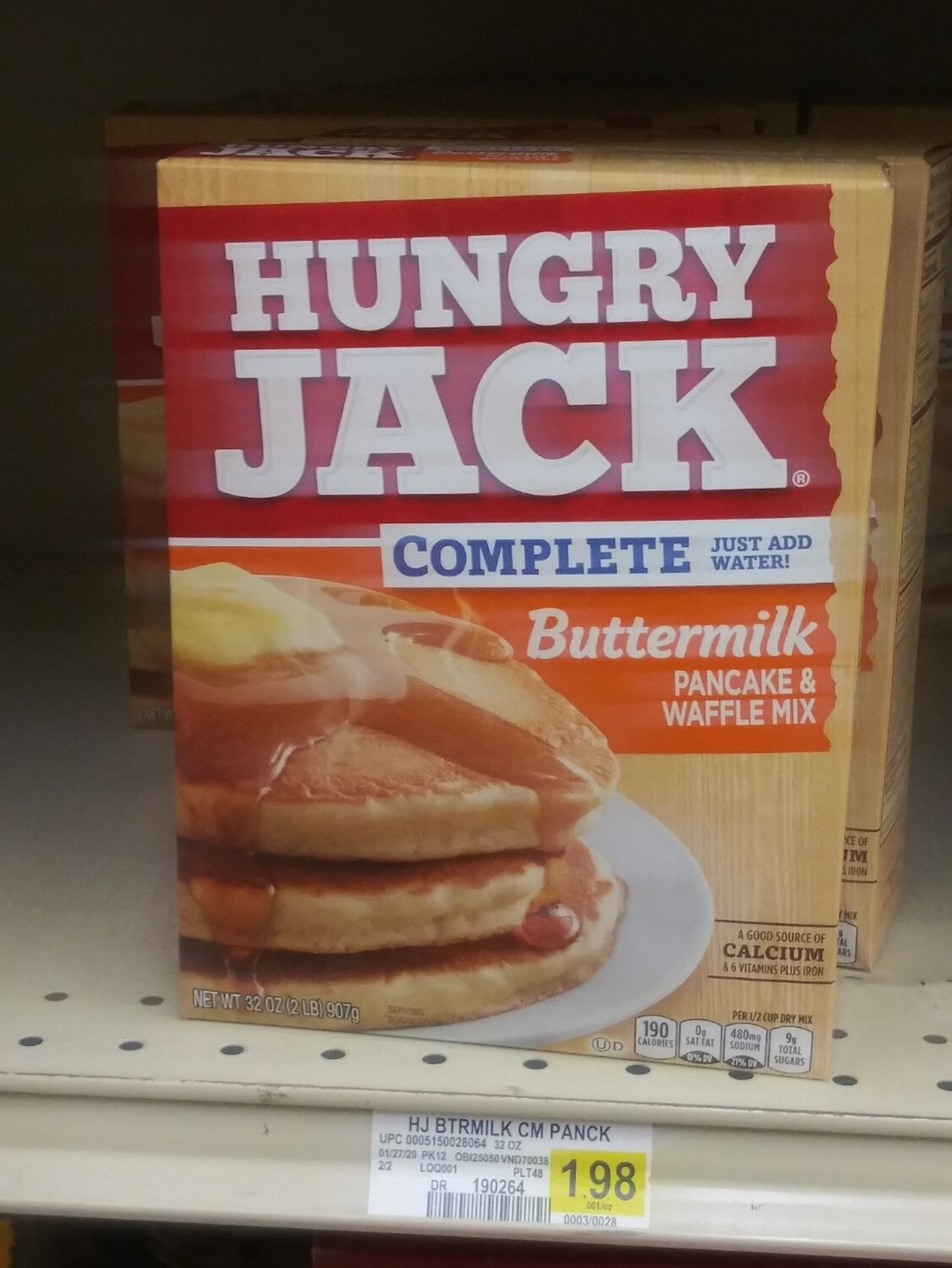 Cash Saver: Hungry Jack Complete Buttermilk Pancake And Waffle Mix 32oz
