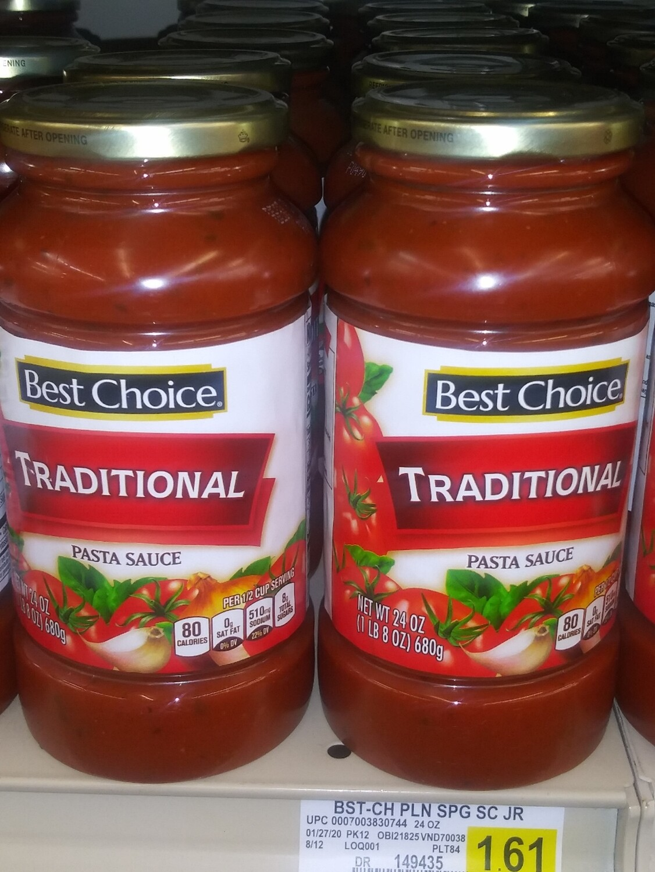 Cash Saver: Best Choice Traditional Pasta Sauce 24oz