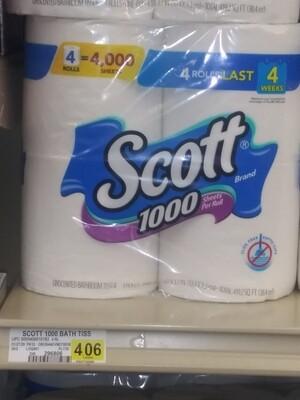 Cash Saver: Scott 1000 Tissue 4(or)12 Rolls