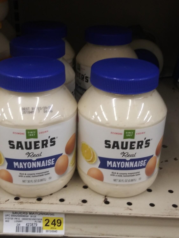 Cash Saver: Sauer's Real Mayonnaise 30fl oz