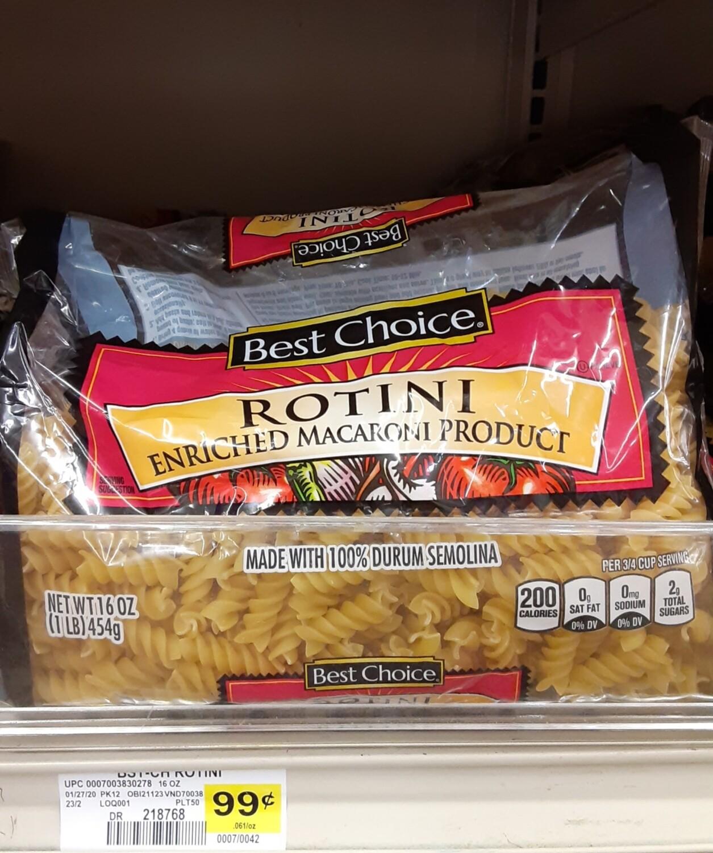 Cash Saver: Best Choice Rotini Pasta 16oz