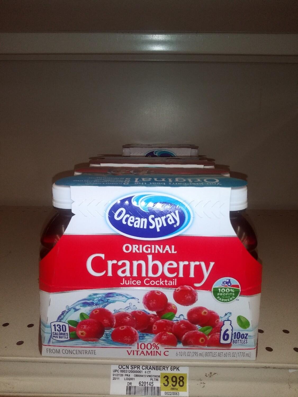 Cash Saver: Ocean Spray Cranberry Juice 10oz Bottles (6)