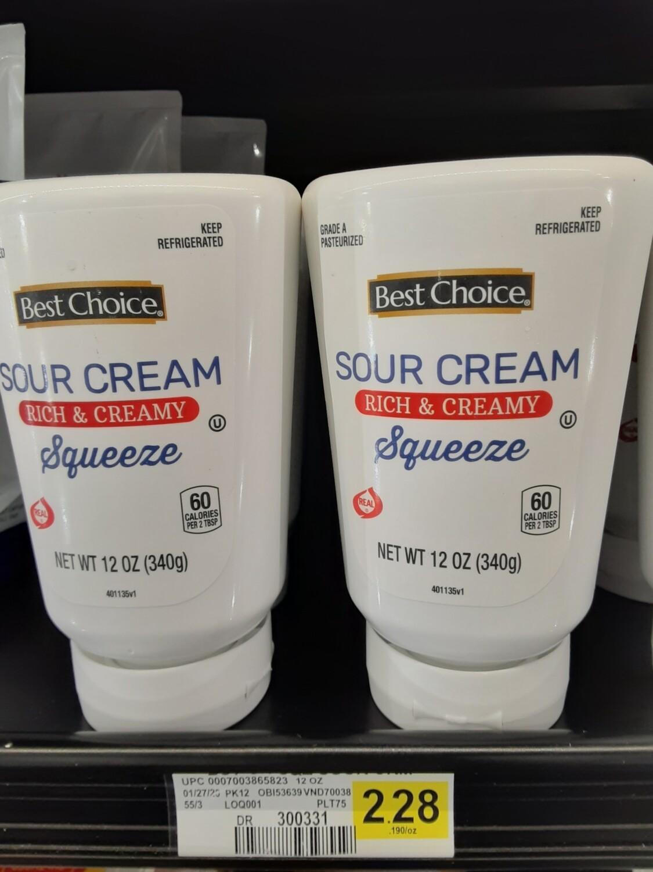 Cash Saver: Best Choice Sour Cream Squeeze  12oz