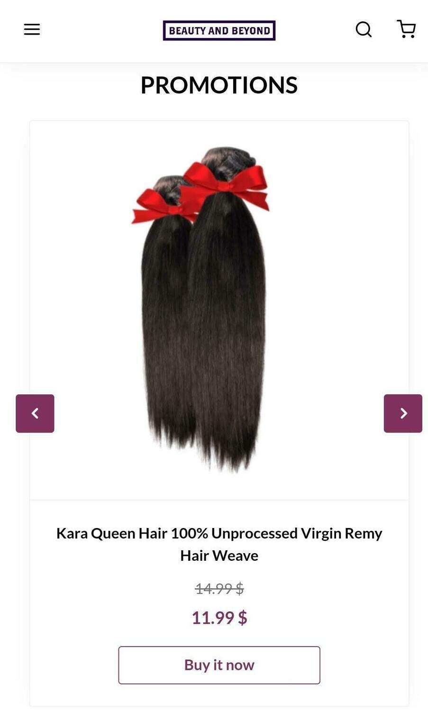 Kara Queen Hair 100% Unprocessed Virgin Remy Hair Weave