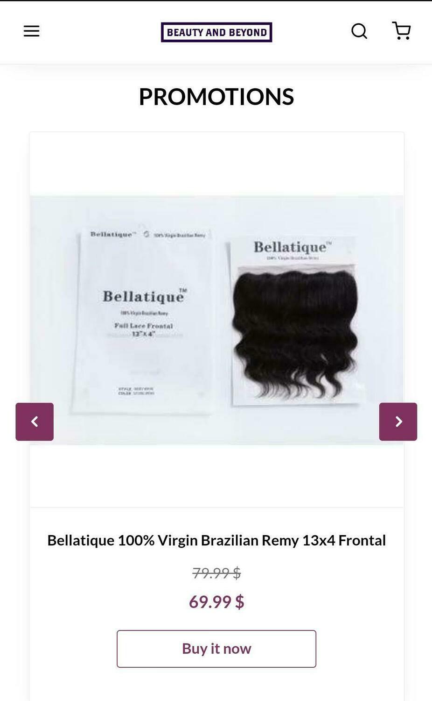Bellatique 100% Virgin Brazilian Remy 13x4 Frontal