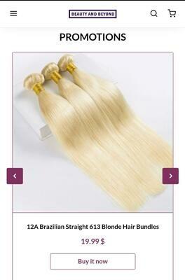 2A Brazilian Straight 613 Blonde Hair Bundles