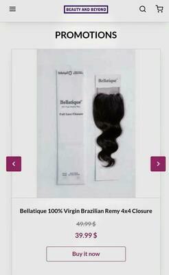 Bellatique 100% Virgin Brazilian Remy 4x4 Closure- Bohemian curl