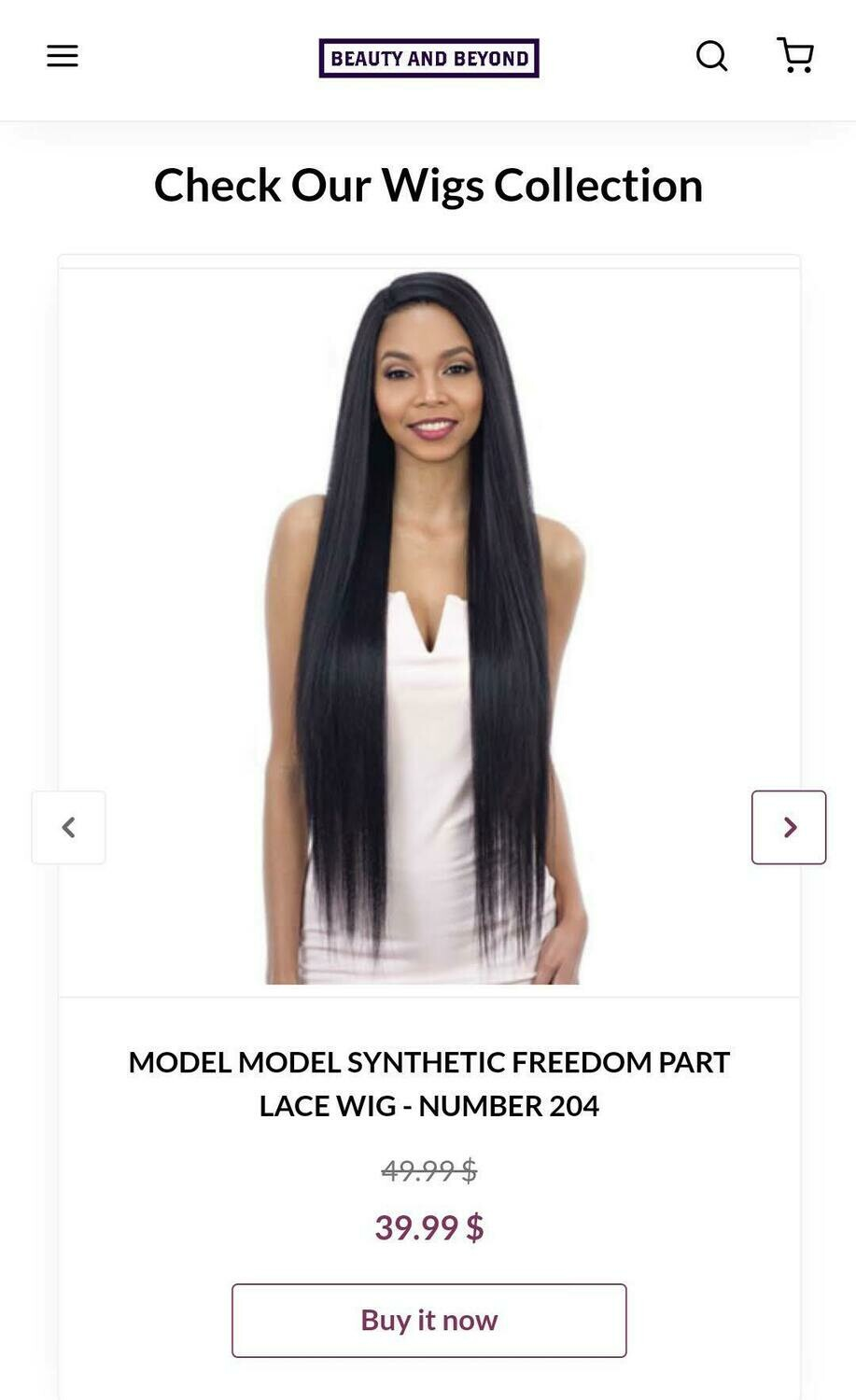 Model Model Synthetic Freedom Part Lace Wig- Number 204