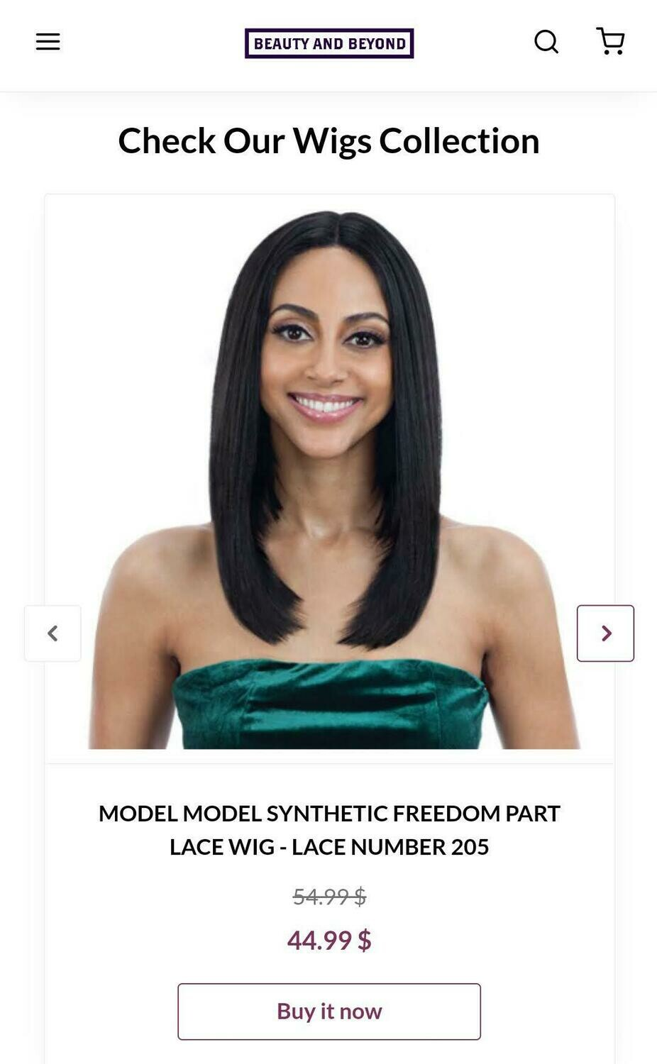 Model Model Synthetic Freedom Part Lace Wig- Lace Number 205