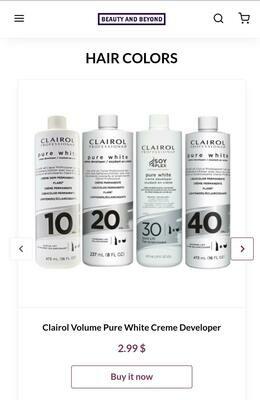 Clairol Volume Pure White Creme Developer