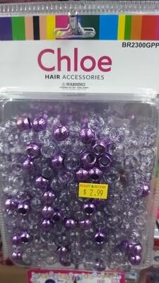 Chloe Beads (Glittery Clear, Silver Purple)