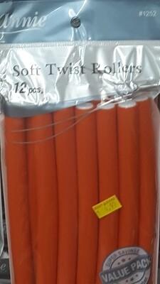 Annie 12 Soft Twist Rollers (Orange)