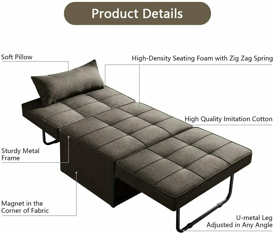 Vonanda Sofa Bed Convertible Chair 4 In 1 Multi Function Folding Ottoman Modern Breathable Linen Guest