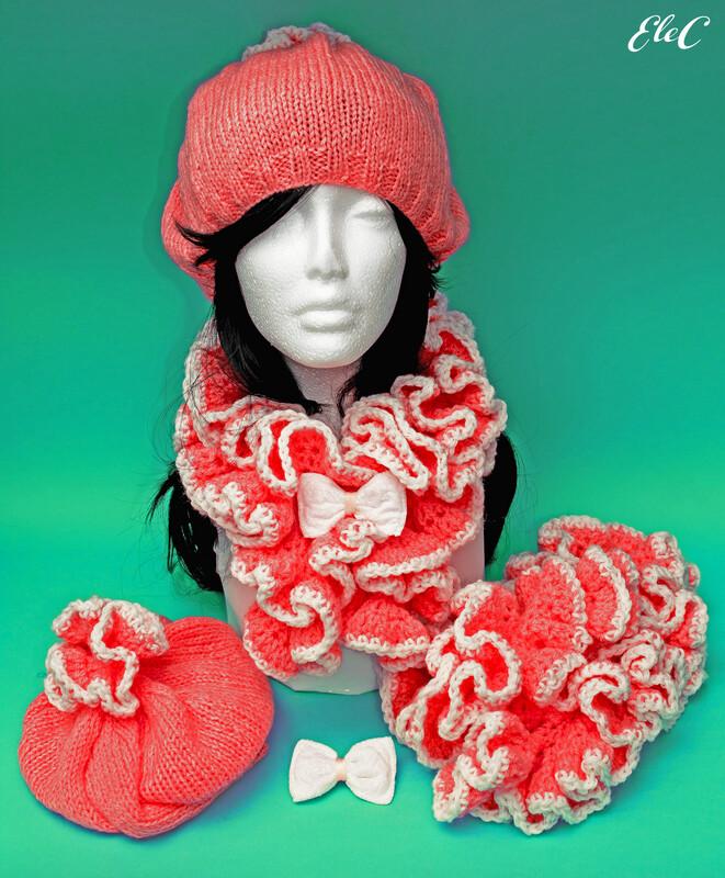 Short CandyPink Ruffle Scarf & Hat