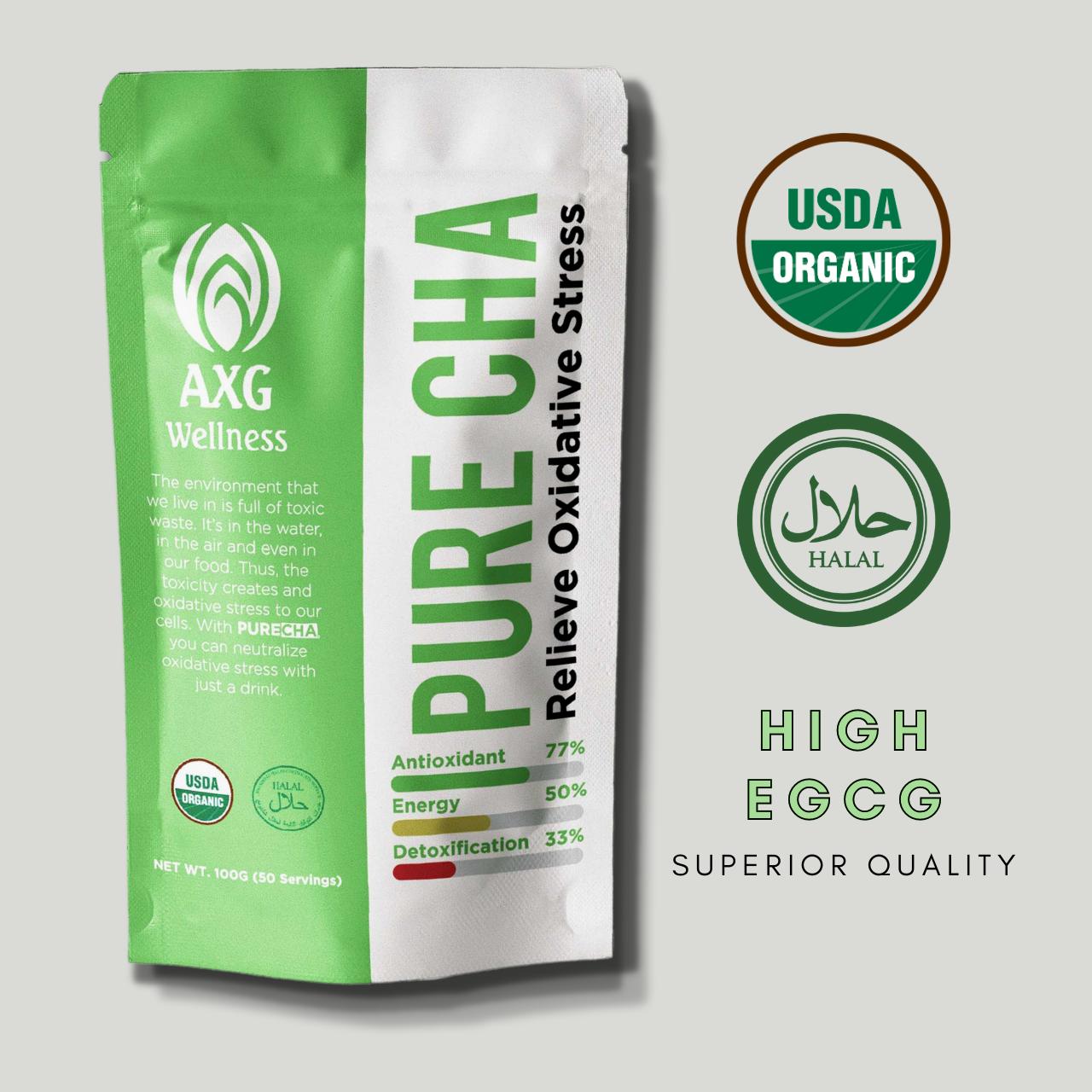 PURECHA Serbuk Matcha Ceremonial Grade -  Tinggi dengan Antioksidan - 100% Organik [HALAL] [USDA ORGANIC]