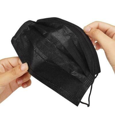 Black Single Use Disposable Face Masks - 50 Pack