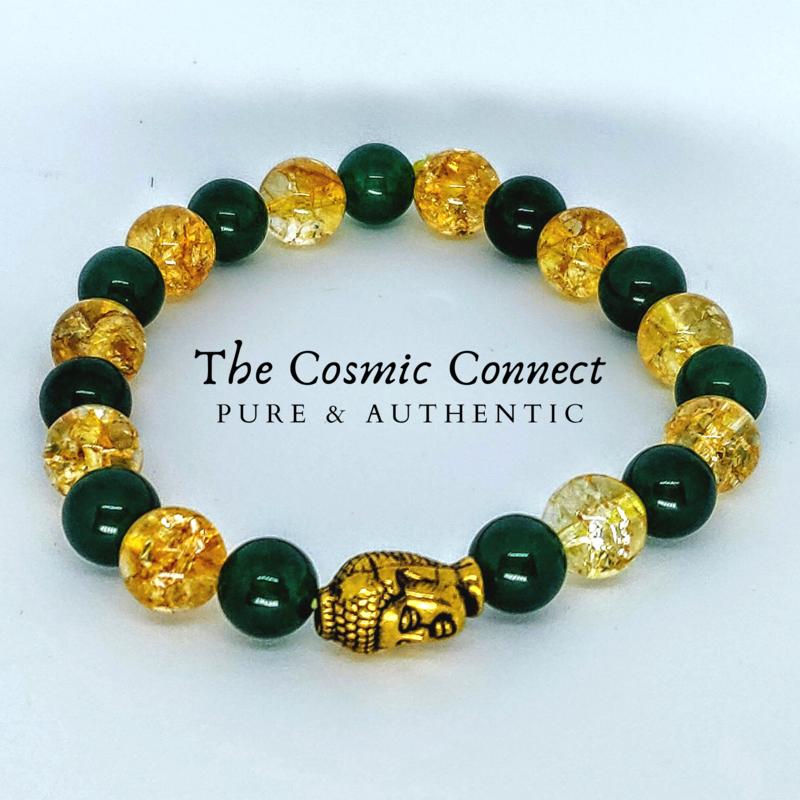 Citrine + Green Jade Bracelet