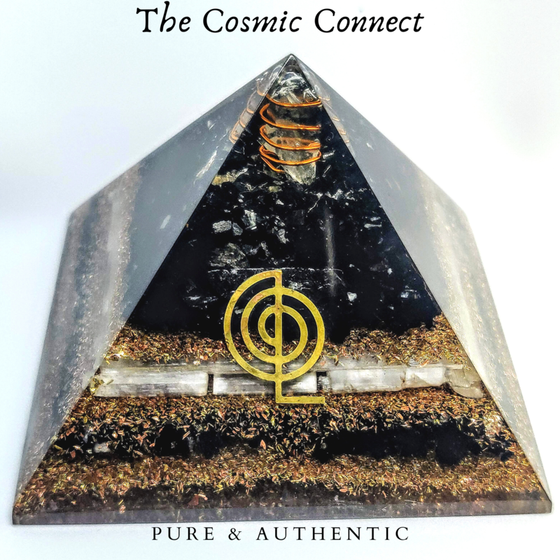 Black Tourmaline& Selenite Orgon Pyramid