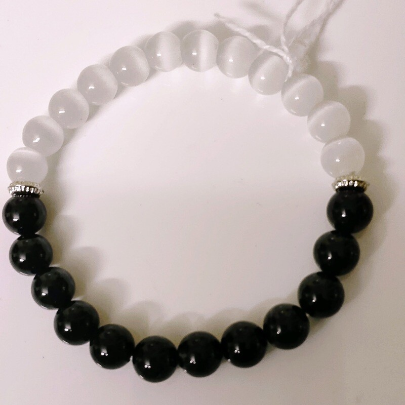 Black Tourmaline + Selenite Bracelet
