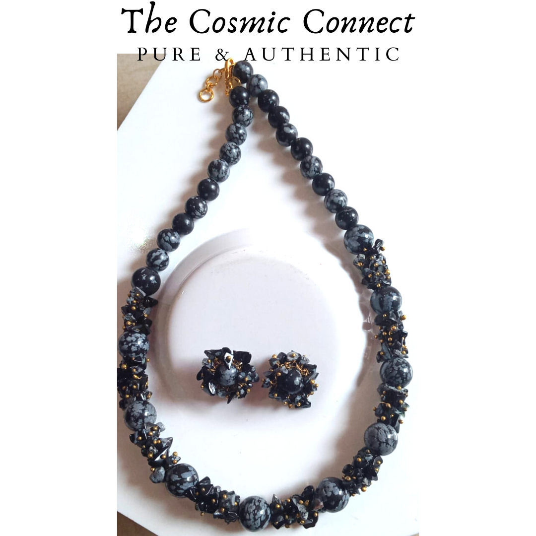Snowflack Obsidian Necklace Set