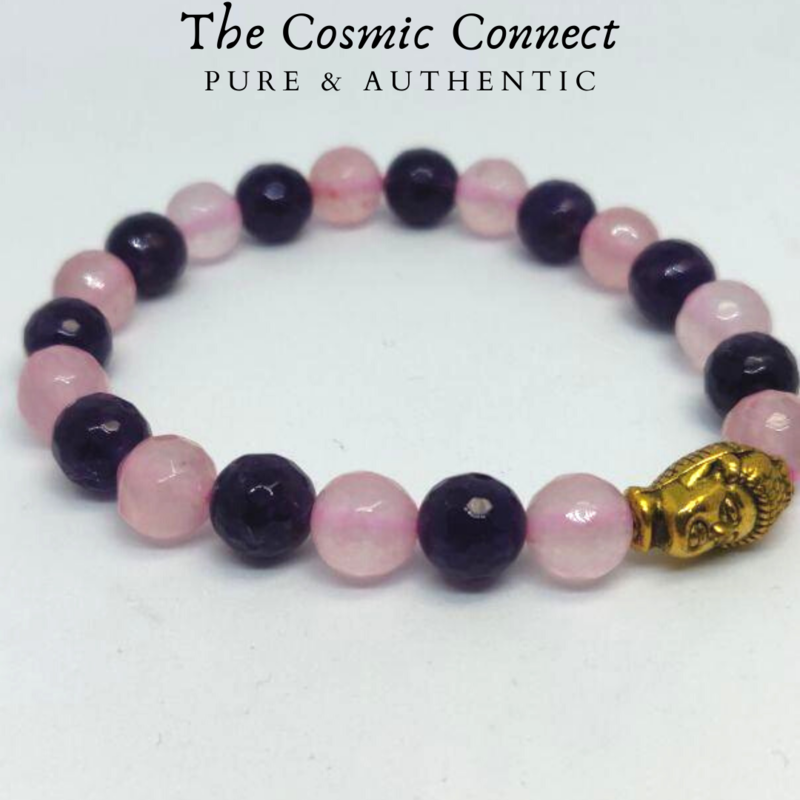 Amethyst+ Rose Quartz Bracelet (Diamond Cut)