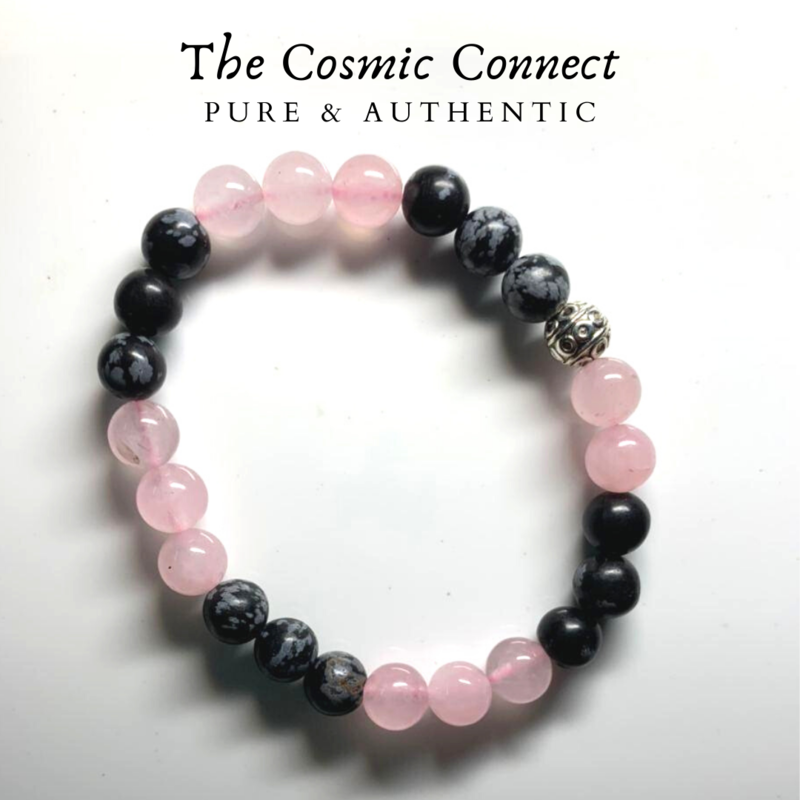 Rose Quartz & Snowflake Obsidian Bracelet