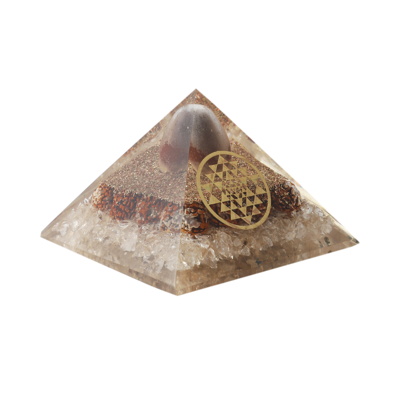 Clear Quartz Rudraksh Orgon Pyramid