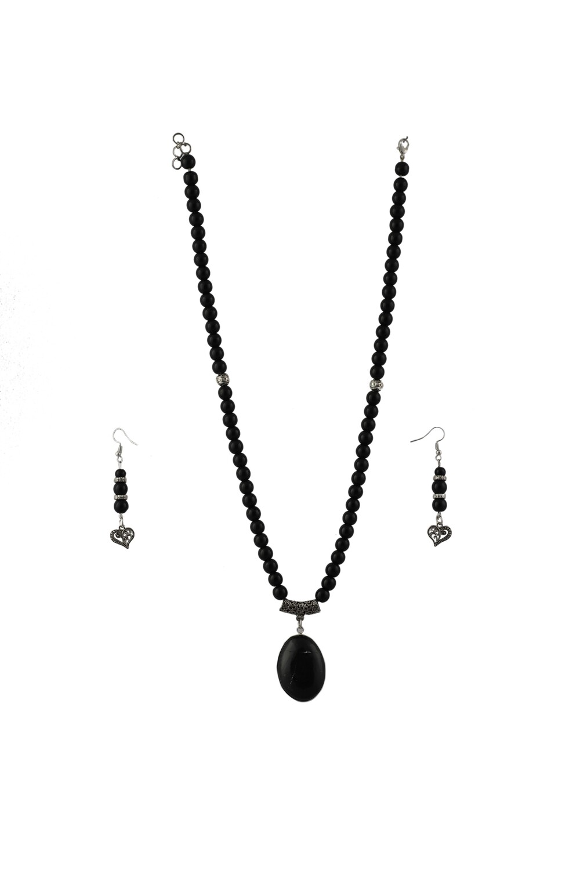 Black Agate with Black Tourmaline Necklace Set