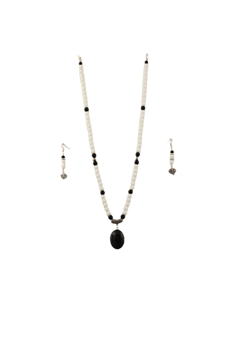 White Agate with Black Tourmaline Necklace