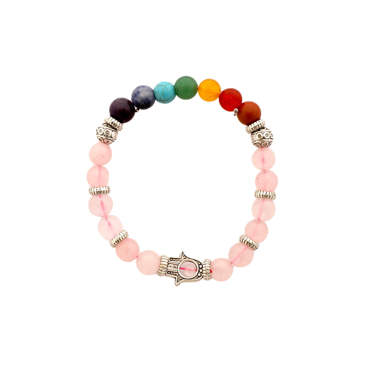 Seven Chakra Rose Quartz Bracelet