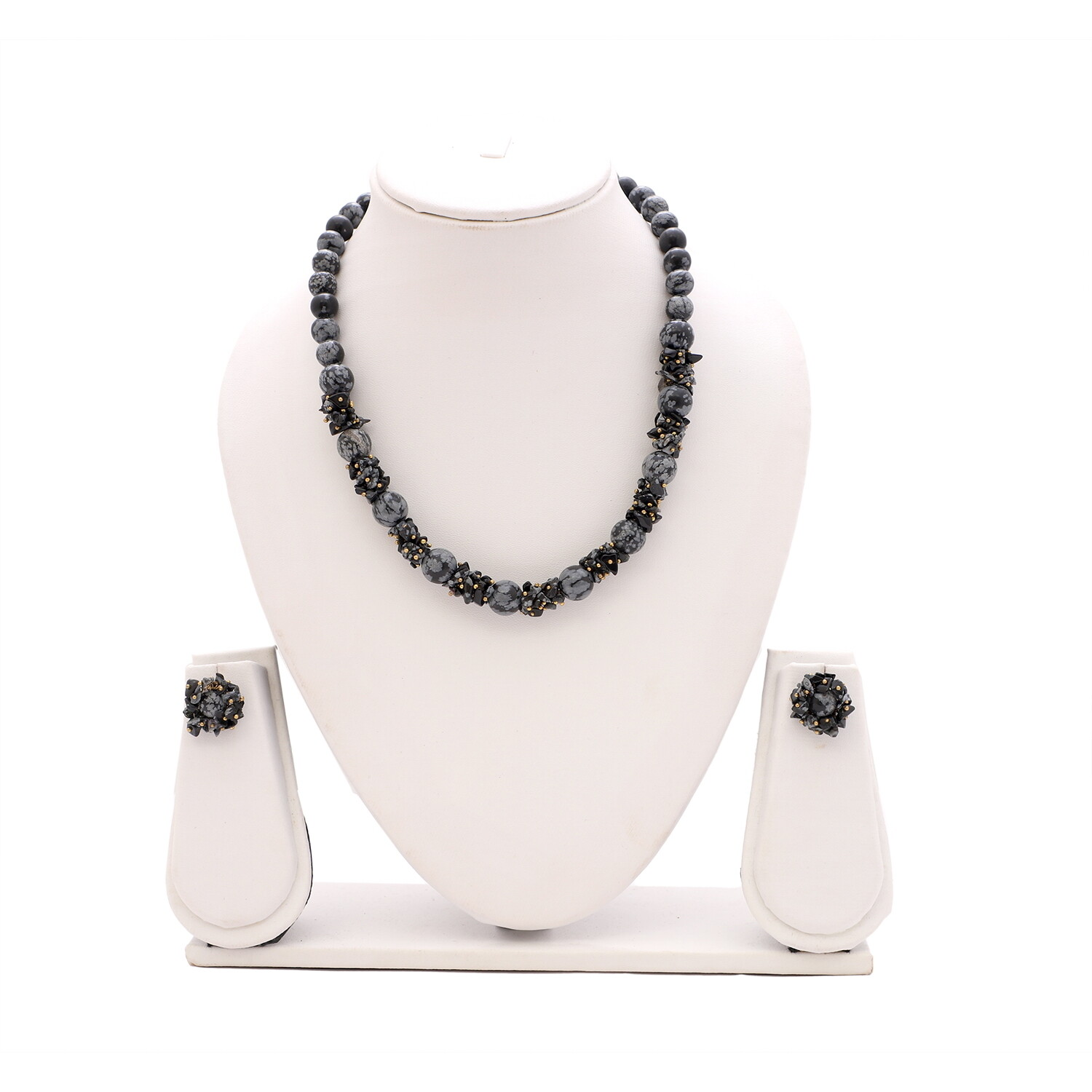 Snowflake Obsidian Necklace Set
