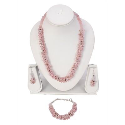 Rose Quartz Chips Necklace Set