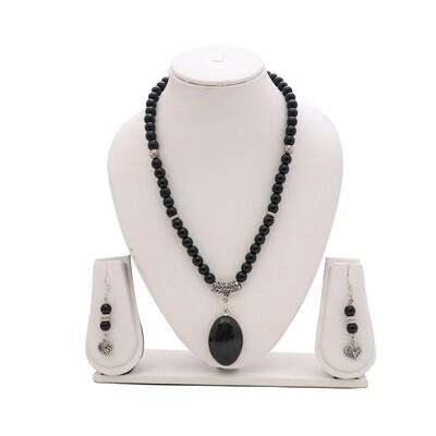 Black Agate Necklace with Black Tourmaline Pendant