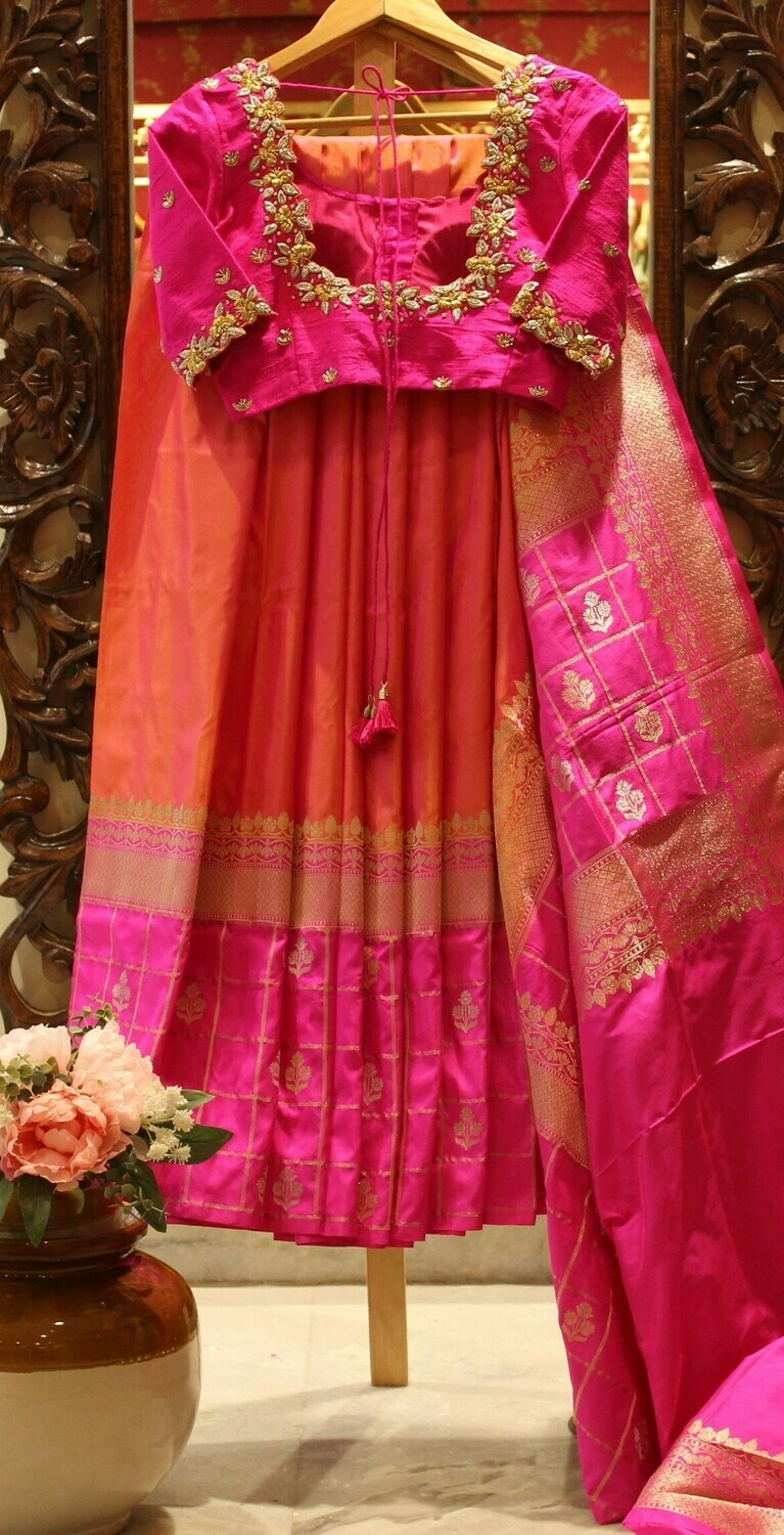 Orange Pink Pure Silk Banarasi Saree With Cutwork Designer Blouse