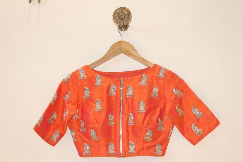 Orange Rawsilk Blouse - Jhumki buti front open