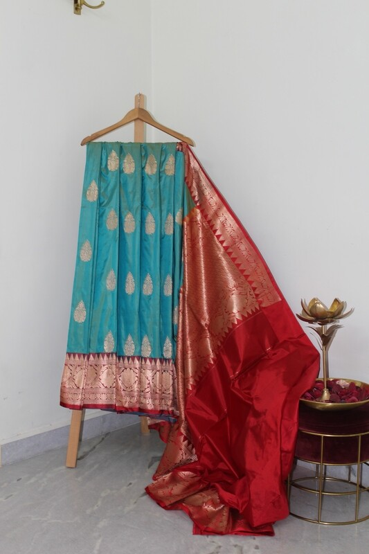 Pure Handloom Banarasi Katan Silk Teal Saree