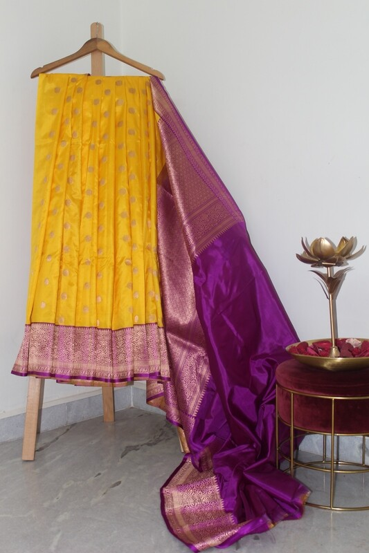 Pure Handloom Banarasi Katan Silk Yellow Saree