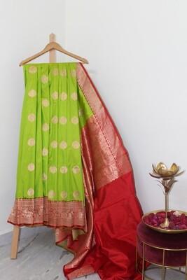 Pure Handloom Banarasi Katan Silk Parrot Green Saree