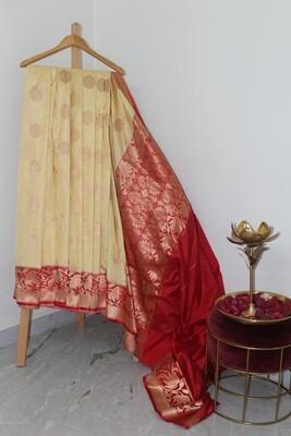 Pure Handloom Banarasi Katan Silk Cream Saree