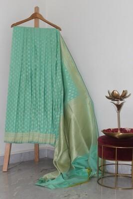 Pure Handloom Banarasi Silk SeaGreen Saree