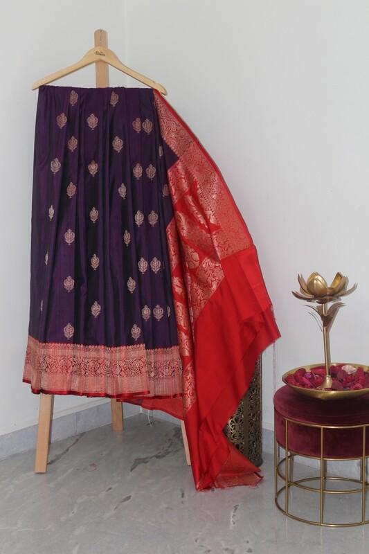 Pure Handloom Banarasi Rawsilk Indigo Saree
