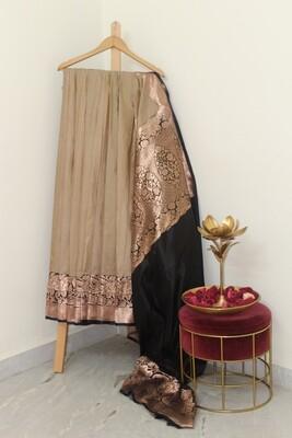 Pure Handloom Banarasi Katan Silk cream with black border Saree