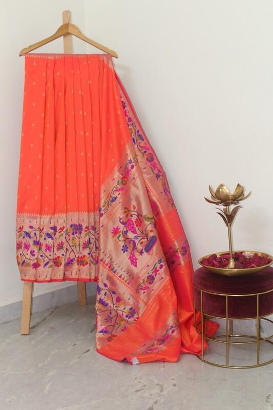 Pure Banarasi Silk Paithani Border Orange Saree
