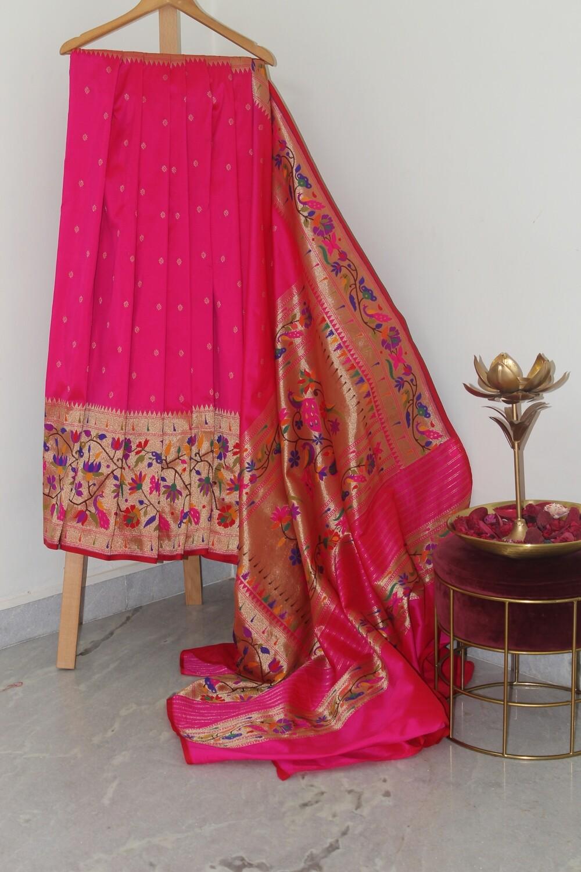 Pure Banarasi Silk Paithani Border Pink Saree