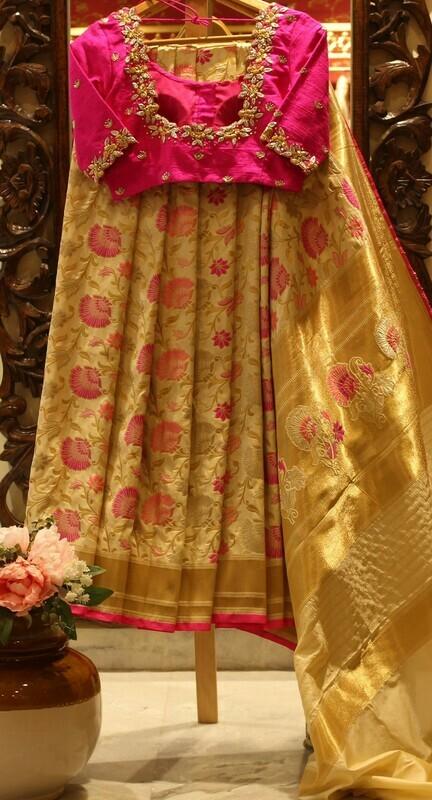 Golden Pure Silk Banarasi Saree with Designer Blouse
