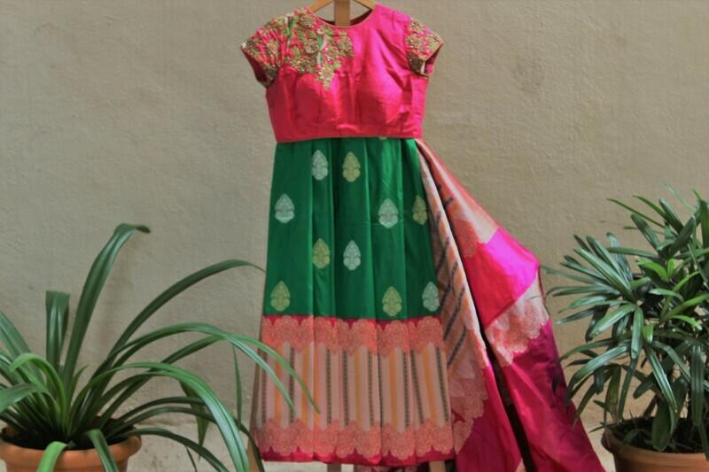 Green Pure Silk Banarasi Saree with Contemporary Designer Blouse