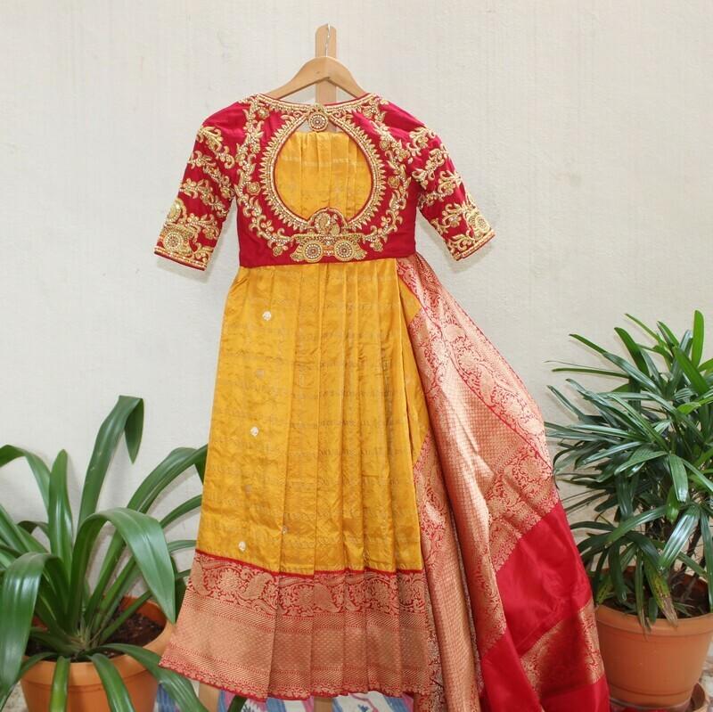 Yellow Banarasi Pure Silk Saree with Grand Chariot Designed Blouse