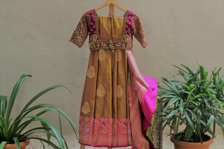 Golden Pink Banarasi Pure Silk Saree with Grand Peacock Designer Blouse