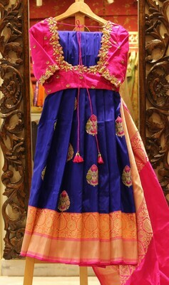 Royal Blue Pure Silk Banarasi Saree with Cutwork Designer Blouse