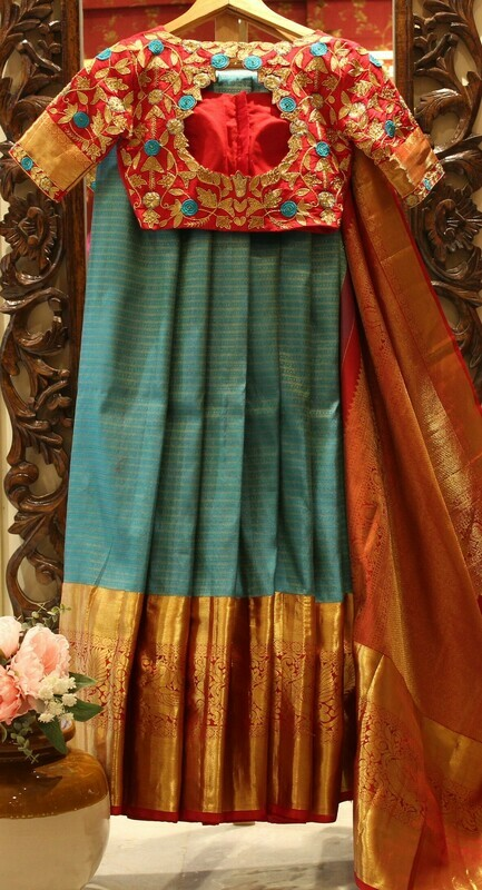 SeaGreen Pure Silk Kanchi Saree with Royal Designer Blouse
